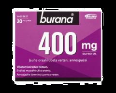 BURANA 400 mg jauhe oraaliliuosta varten, annospussi 20 kpl